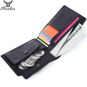 Image 1 - Flanker 100% Genuine Leather Men Small Wallet Casual Short Slim Wallet Brand Bifold Purse with Coin Pocket Card Holder PORTFOLIO