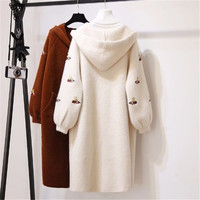 2019 new autumn and winter coat long paragraph water velvet solid color embroidery long sleeve thick warm