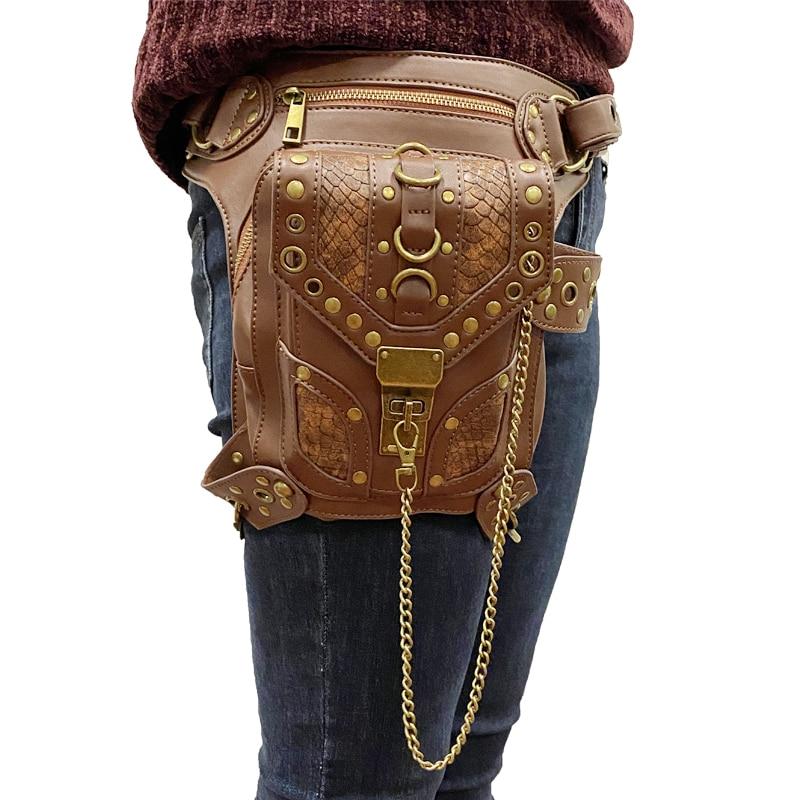YoReAi Women Men Drop Leg Bags Vintage Steampunk Moto Bag Steam Punk Retro Rock Gothic Biker Bag Shoulder Waist Bags Packs