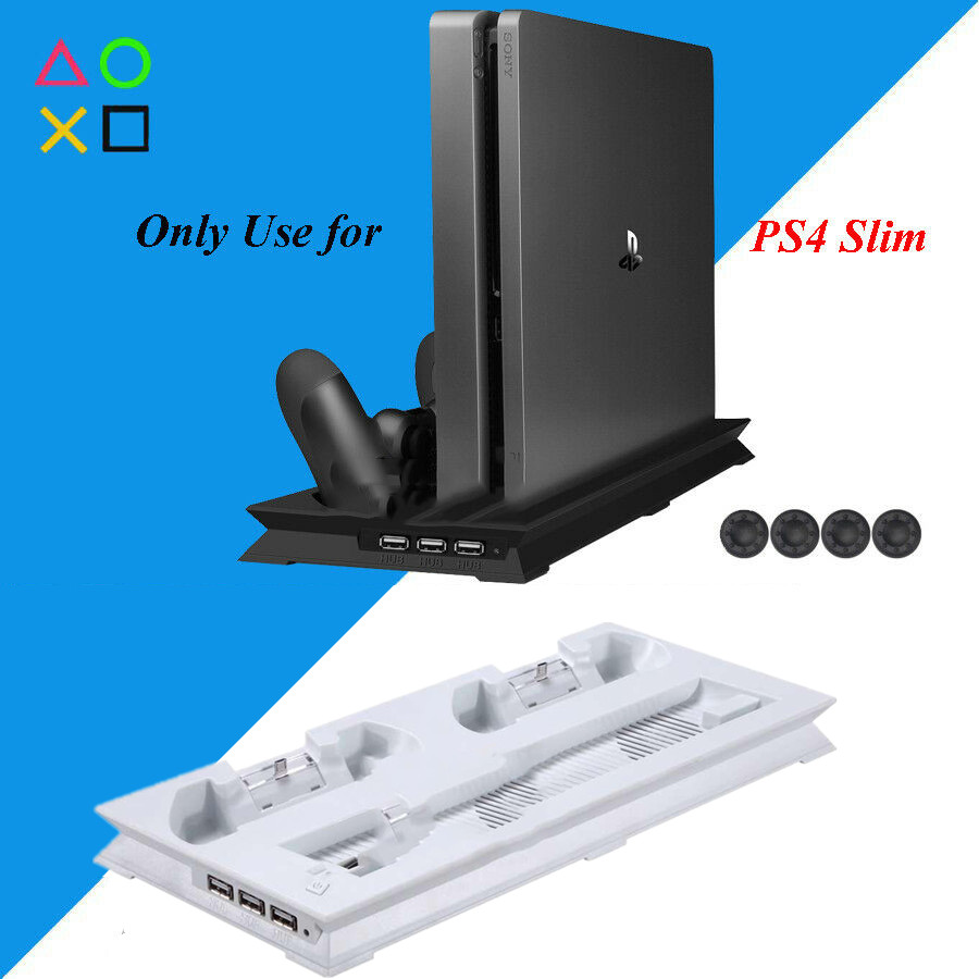PS4 Slim Vertical Stand Cooling Fan Cooler  amp  Dual USB Charger Charging Dock with 3 Extra HUB for Playstation 4 PS4 Slim   4 Caps