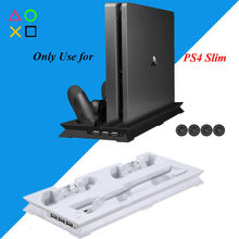 PS4 Slim Vertical Stand Koelventilator Koeler & Dual Usb Charger Charging Dock Met 3 Extra Hub Voor Playstation 4 PS4 Slim + 4 Caps(China)