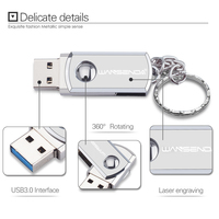 Stainless Steel USB 3.0 Flash Drive with Key Ring
