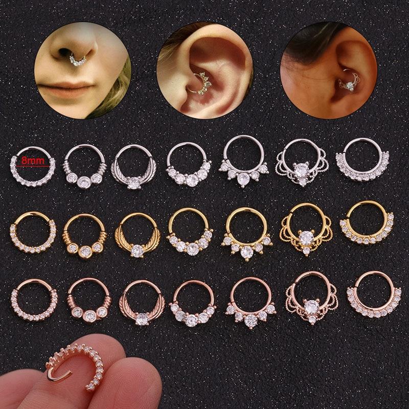 1Pc 8mm Open Hoop Daith Earring Cz Cartilage Rook Earring Septum Ring Nose Ear Piercing Body Jewelry