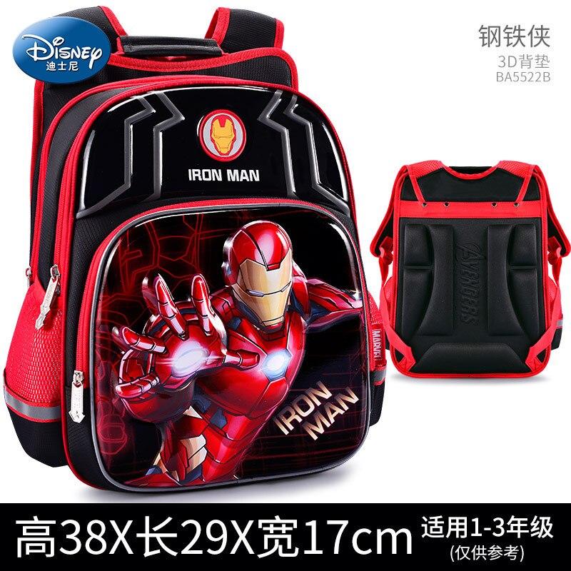 Disney Per Bambini Zaino Ragazzi Sacchetto di Scuola 3-12 Età Spider-Man Iron Man Impermeabile Striscia Riflettente 3D Modello regalo di compleanno 4
