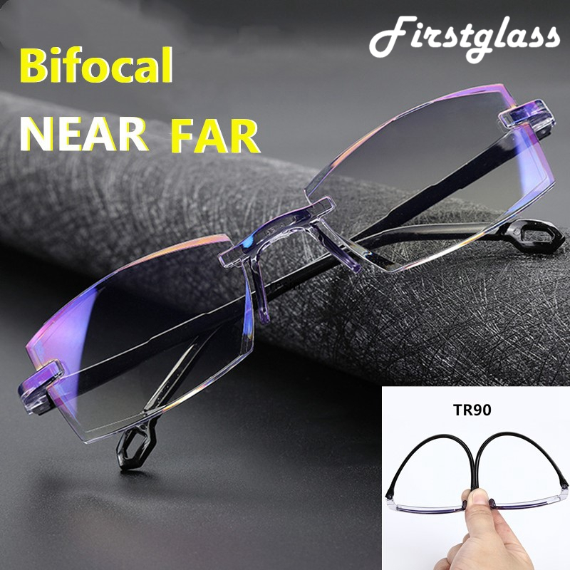 2019 NEW Rimless Bifocal Reading Glasses Anti Blue Ray Lightweight Multifocal Presbyopic Glasses Magnification Diamond Cutting
