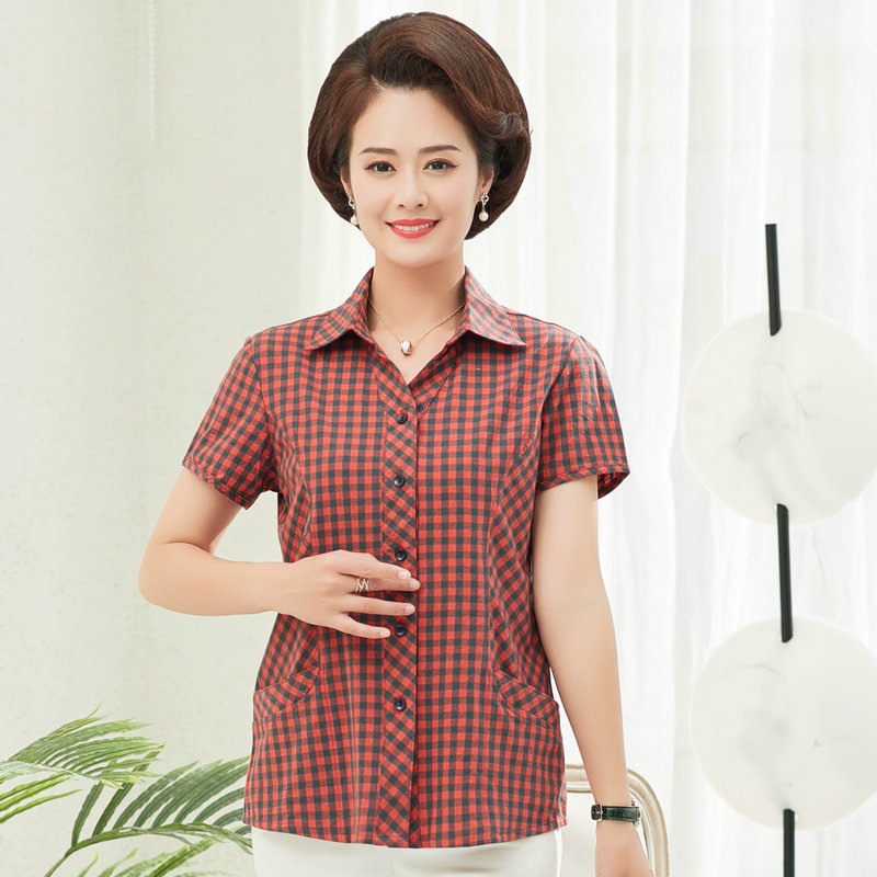 Spring Summer Women Short Sleeve Cotton Shirts Red Beige Blue Small Plaid Pattern Comfort Top Turn Down Collar Checked Clothes