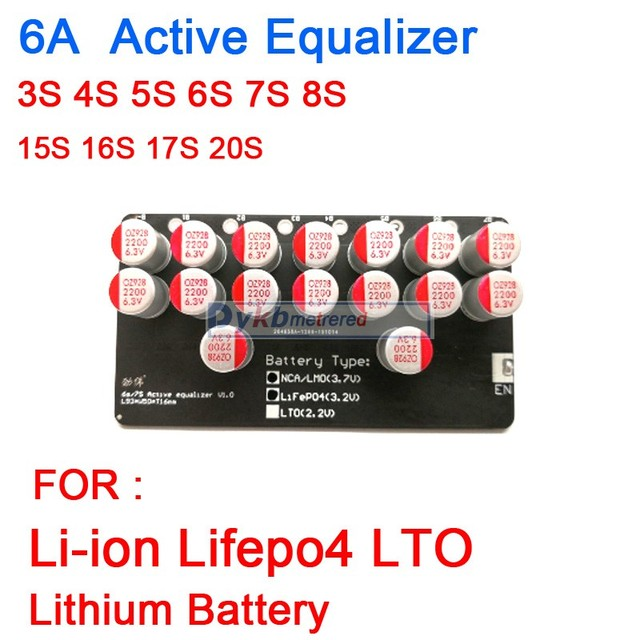 6A 3S 4S 5S 6S 7S 8S 10S 13S 14S 16S 17S 20S Active Equalizer Balance Lifepo4 Lithium Lipo LTO Battery Energy Transfer Board BMS