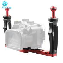 """Nova dslr mergulho dupla handheld bandeja suporte lidar com grip rig w/ 1/4 """"parafuso base câmeras de ação esportes subaquática luz foto montagem"""