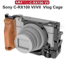 Gaiola de câmera metálica para vlogs, gaiola de metal para câmera de sony rx100 vi/vii, sapato frio duplo com punho de madeira acessórios do parafuso 1/4,