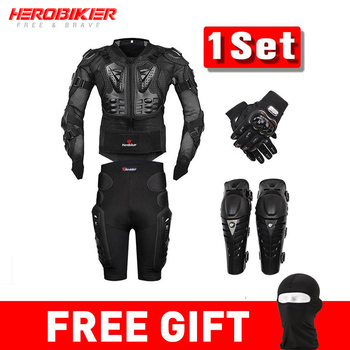 HEROBIKER Moto Motocross Racing Motorcycle Body Armor Protective Gear Moto Jacket+Shorts Pants+Protection Knee Pads+Gloves Guard wosawe motorcycle jacket motocross body armor chest back moto protective gear shorts pants knee protector gloves guard knee pads