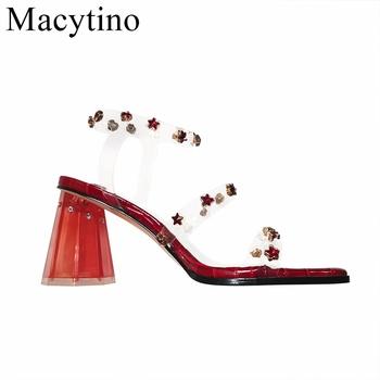 Sandały damskie PVC buty gwiazdy damskie sandały wysokie obcasy przezroczyste buty jasne klasyczne czółenka damskie buty Sandale Femme tanie i dobre opinie Macytino Podstawowe Dziwne styl Otwarta RUBBER Wysoka (5 cm-8 cm) Sukienka Pasek klamra Pasuje prawda na wymiar weź swój normalny rozmiar