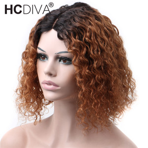 35cm Curly Human Hair Lace Wig perruque boucle cheveux bresiliens Perruque Courte 5inch Deep Part Lace Wig Brazilian Remy Hair(China)