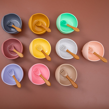 Tableware Baby Silicone Bowl Kids Dishes Spoon Feeding-Set Non-Slip Waterproof