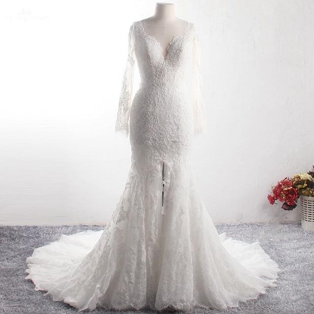 LZ369 Yiai Ivory Nice Lace Pearls Wedding Dress Long Sleeve Mermaid Dress Sexy Side Split Long Beach Dress