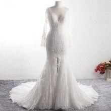 LZ369 Yiai marfil bonito encaje perlas vestido de novia de manga larga sirena vestido Sexy partido lateral largo Vestido de playa