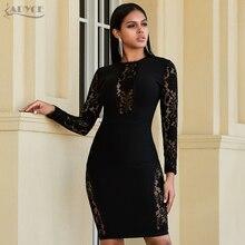 Adyce yeni sonbahar siyah dantel bandaj elbise kadınlar sıcak seksi Hollow Out uzun kollu kulübü elbise zarif ünlü akşam parti elbise