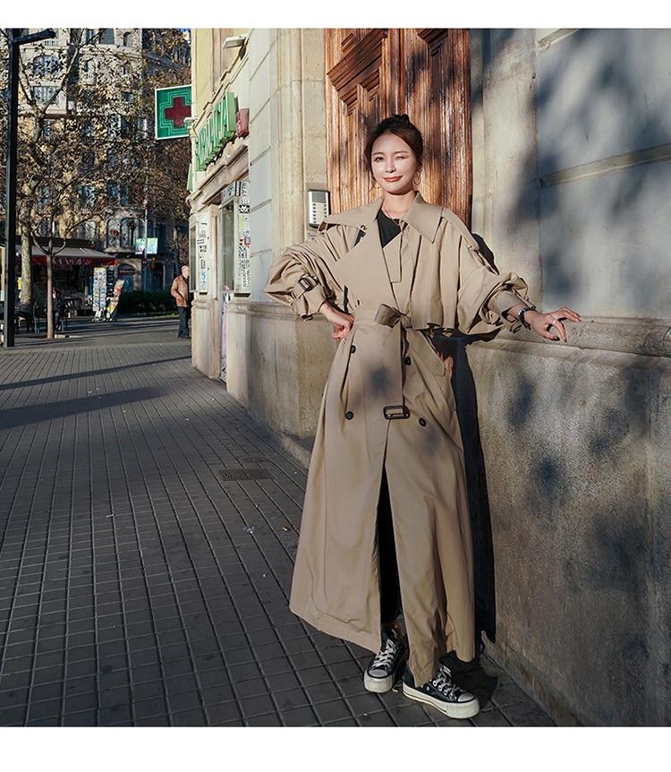 Haad5458bd47246388449da74ca3baf44k Korean Style Loose Oversized X-Long Women's Trench Coat Double-Breasted Belted Lady Cloak Windbreaker Spring Fall Outerwear Grey