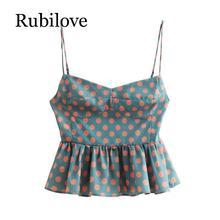 Rubilove 2019 new women fashion polka dot print casual sling blouse shirts back elastic ruffles chemise tops