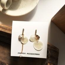 S925 needle Korean shell dangle earrings asymmetric elegant pearl temperament  women jewelry girl gifts