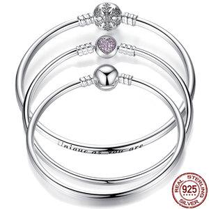 Pulseira 925 Sterling Silver Bracelet Femme Snowflake Heart Blue Eye Femme Snake Chain Bracelets & Bangles Women Jewelry(China)