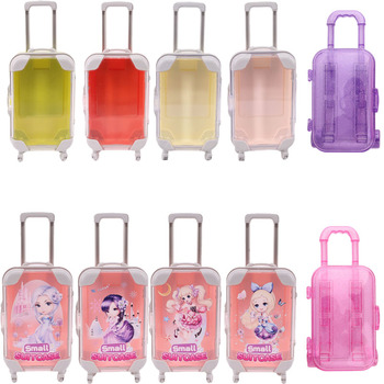 Suitcase Cartoon Print Translucent Style For 18 Inch American Doll Girls & 43 Cm New Born Baby & Nancy & Logan Dolls Accessories image