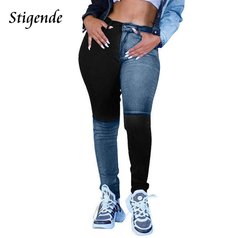Stigende-jean en Denim crayon Patchwork pour femmes, vêtement slim à la taille Midi, vêtement d'été, mode Streetwear, collection décontracté