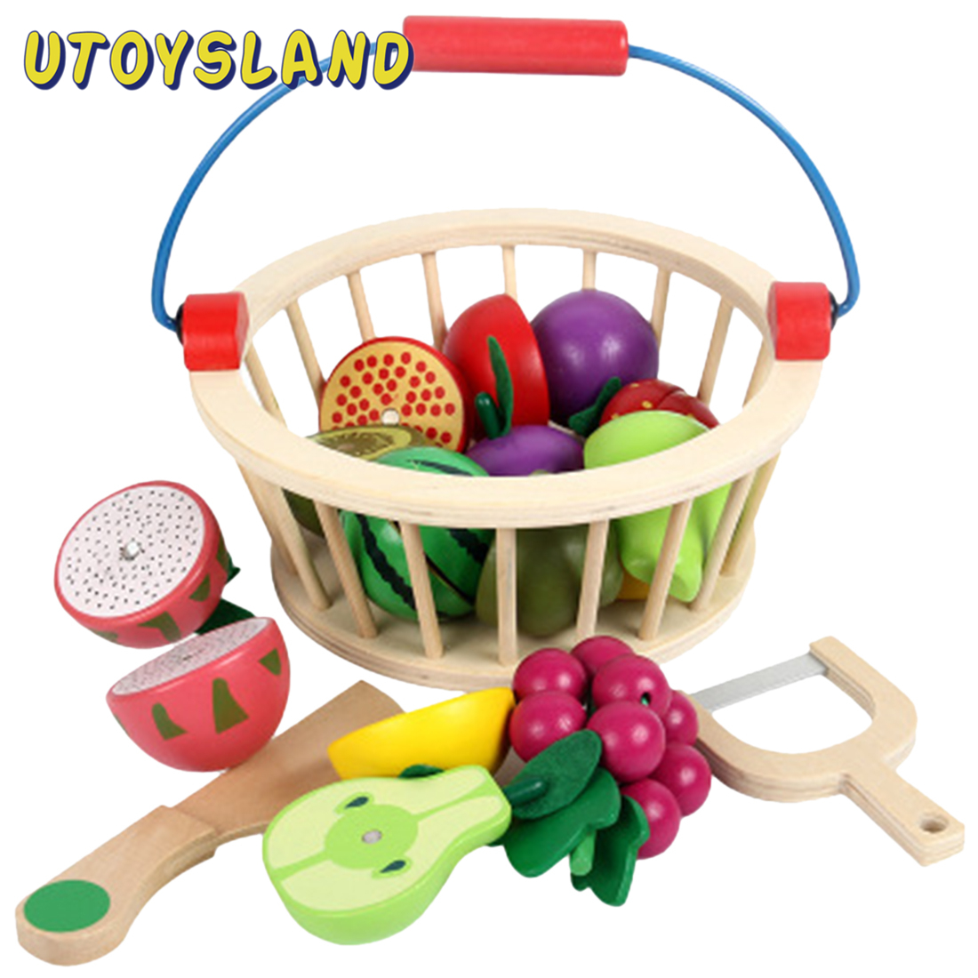 12Pcs Magnetic Wooden Fruit And Vegetable Combination Cutting Toy Set Children Play & Pretend Simulation Round Basket Fruit Kits