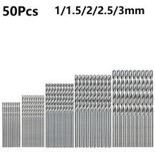 50pcs Titanium Coated HSS Drill Bits Set 1/1.5/2/2.5/3mm High Speed Steel Twist Drill Bit For Wood Plastic Aluminum Metal