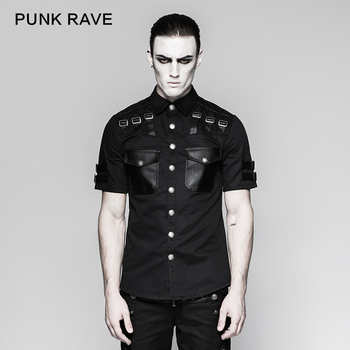PUNK RAVE Men Fashion Handsome Gothic Tshirt Punk Rock Leather Military Short Sleeve Summer Cool Tops T-Shirt Hip Hop Streetwear