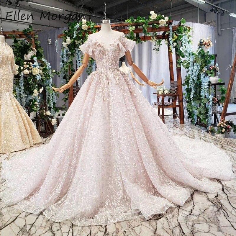 Vraies Photos arabe dentelle robes de soirée longue luxe 2019 O cou volants sans manches Robe de chambre formelle événement fête robes de bal