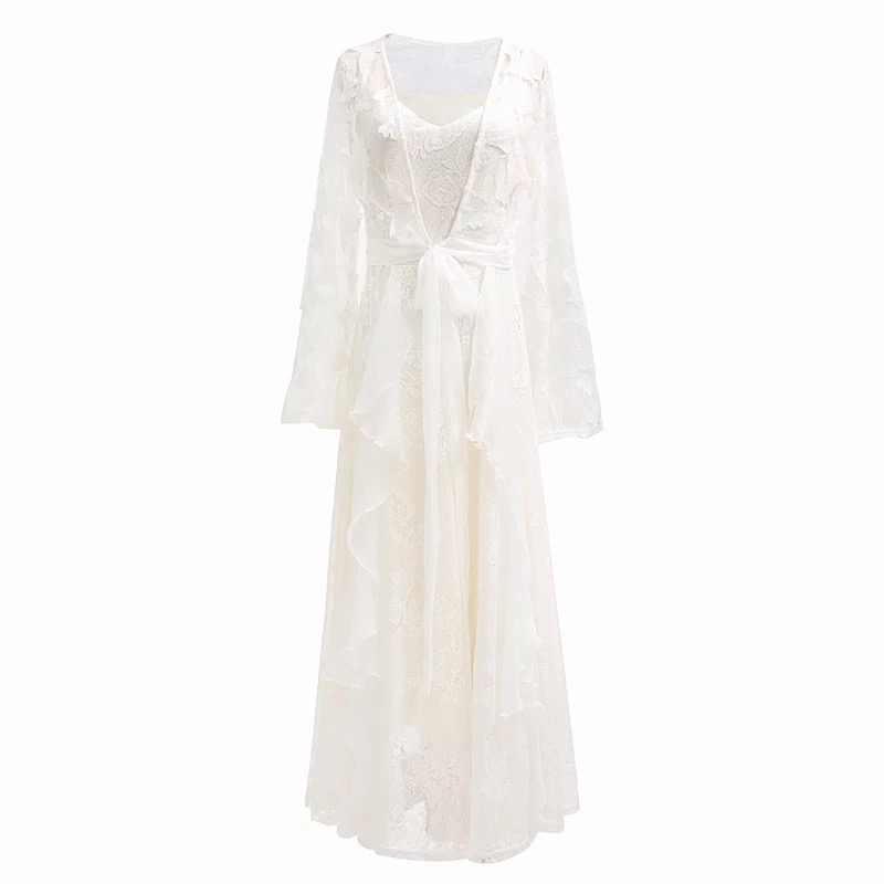 Yosimi vestido longo feminino 2020 noite de festa verão maxi rendas duas peças bordado manga cheia com decote em v vestidos elegantes longos