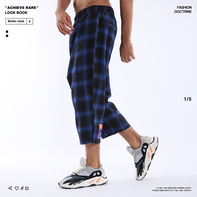 2019 Europe And America Popular Brand Casual Pants Men's Fashion Plaid Summer New Style Straight-leg Pants Capri Pants Casual Pa