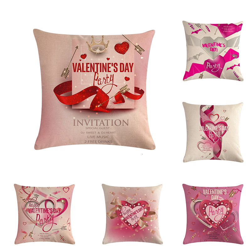 1PC Sweet Valentine Pillow Case Linen Sofa Cushion Cover Home Decor Pillow L