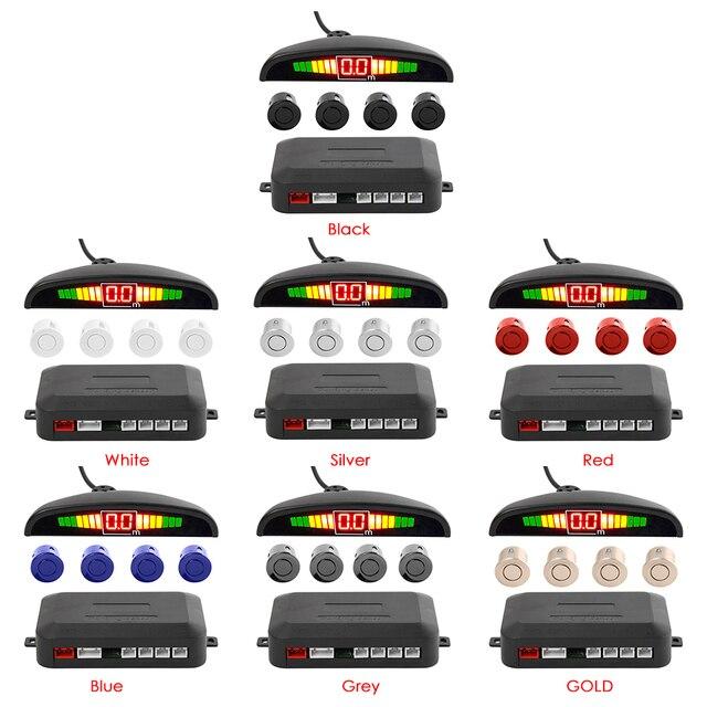 รถParktronic LEDที่จอดรถชุดเซ็นเซอร์สำรองย้อนกลับที่จอดรถเรดาร์ตรวจสอบระบบตรวจจับเซ็นเซอร์4