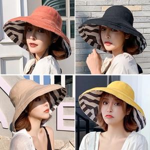 Image 5 - זברה פסים שמש כובע קיץ נשים דו צדדי מתקפל כותנה פשתן שמש חוף כובעי גדול רחב שוליים קרם הגנה נשי דלי כובע