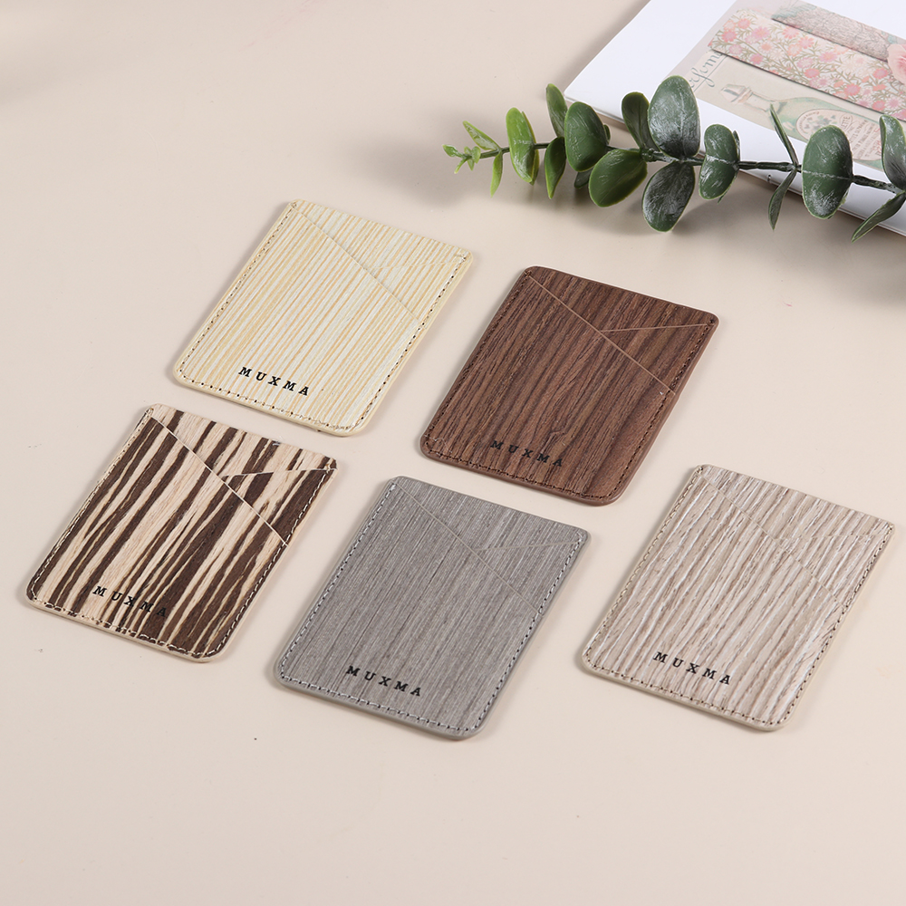 New Fashion 5 Styles Wood Pattern Credit Card Holder Cell Phone Wallet Pocket Sticker Adhesive Pouch Case  Men Women Universal