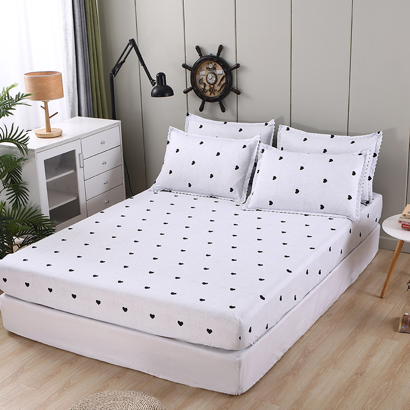 Bonenjoy 3 pcs Fitted Bed Sheets Single drap de lit Geometric Pattern Stitching Mattress Cover with elastic For Double Bed Sheet 11