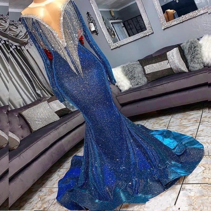 Blue Muslim Evening Dresses Mermaid Long Sleeves Sequins Sparkle Islamic Dubai Kaftan Saudi Arabia Long Evening Gown
