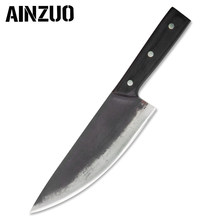 AINZUO Handmade Forged 8 Inch Kitchen Chef Knife With Full Tang Handle Wood Handle High Carbon Clad Steel Chef Knife Ultra Sharp(China)