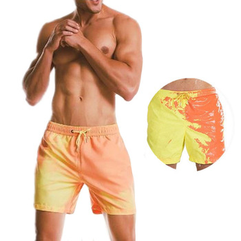 JIAYAN Men Board Shorts Swimsuit Changes Color  Beach Quick Dry Discoloration Swimming Trunks Swimwear