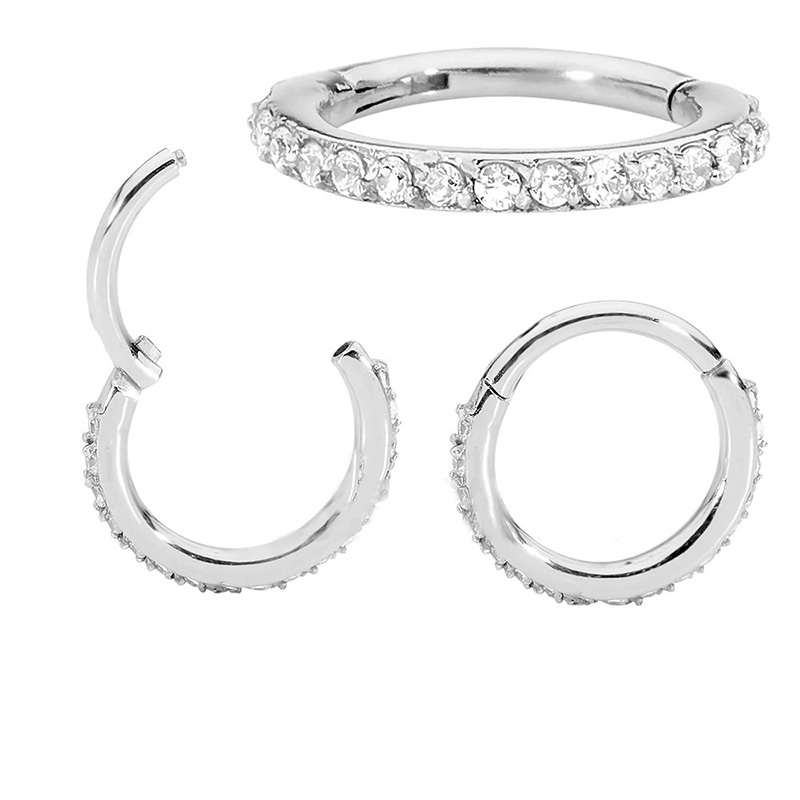 1Pc Top Quality Surgical Steel Zircon Septum Clicker Piercing 8 Mix Style Nose Ring Body Piercing Hanger Clip On Fashion Jewelry