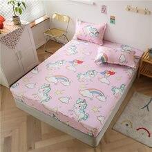3 sztuk Cartoon zestaw pościeli jednorożec dinozaur narzuta na materac na łóżko miękkie wygodne łóżko prześcieradła dopasowane prześcieradło na gumce