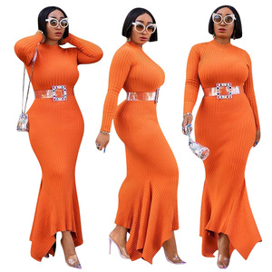 Image 2 - African Dresses For Women Robe Knitting African Clothing Dashiki Fashion Long Maxi Dress Africa Clothing Tight Long Sleeve Dress