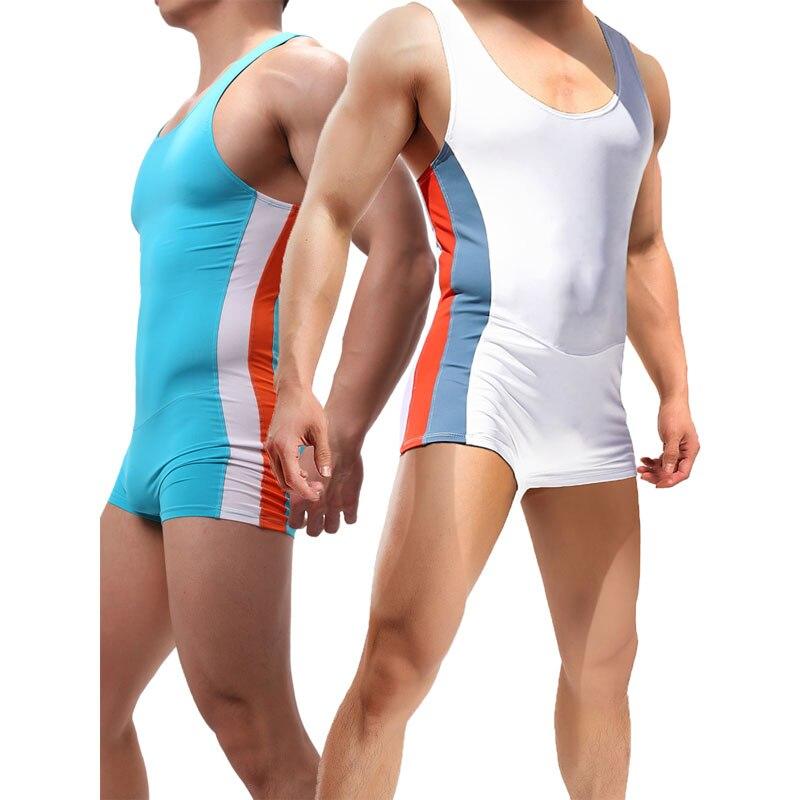 Mens Undershirts Seamless Slip Penis Pouch Bodysuits Shorts Pajamas Sports Fitness Sexy Underwear Singlet Jumpsuits Bielizna 1