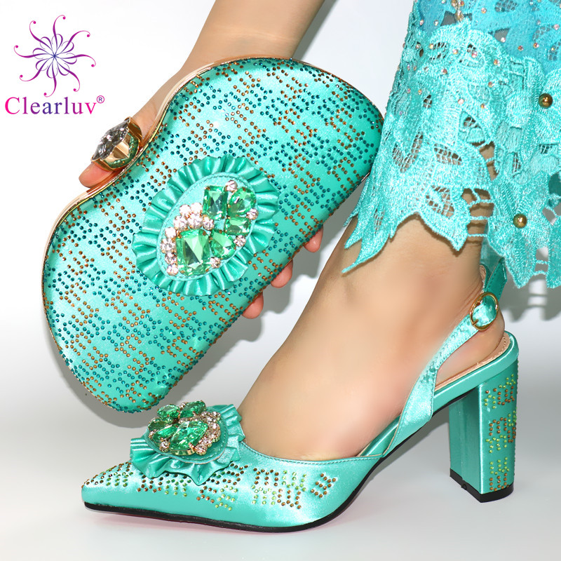 Green Mature African Women Shoes And Bag To Match Set Italian Comfortable In Heels For Party Shoes And Bag Set For Wedding Dress