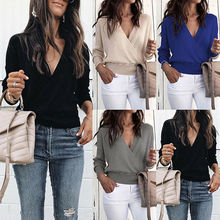 цена на Women V Neck Long Sleeve Sweater Ladies Ribbed Jumper Pullover Casual Top Blouse