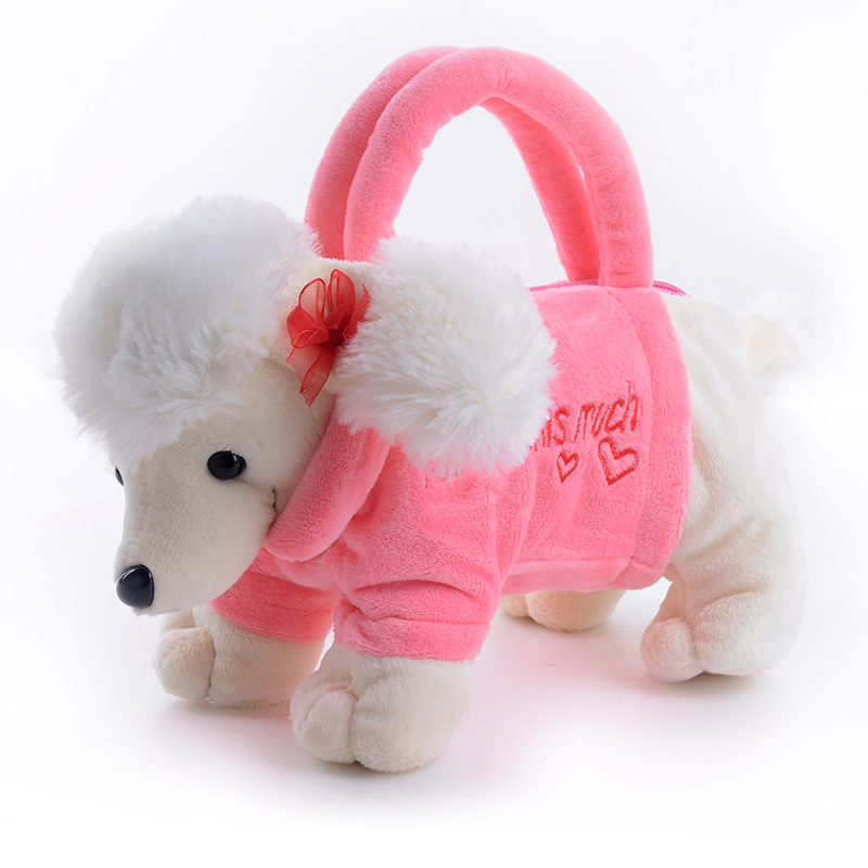 20*13 cm Kids Plush Cartoon Dogs Hand Bag Girls Outdoor Coin Holder 3D Poodle Shar Pei Dog Baby Plush Toys for Children Baby Gif
