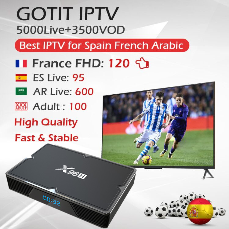 GOTIT IPTV Europe Francais Arabic Hotclub,XXX Adult IPTV Subscription+X96H Android 9.0 TV Box H603 Quad-core Wifi BT Set Top Box