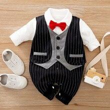 Malapina recém-nascido macacão cavalheiro bebê meninos roupas de algodão 2021 criança com laço roupa crianças traje