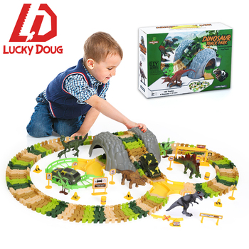 Track Dinosaur Toys Set DIY Simulation Railway Jungle Children Flexible Racing Track Toy Car Educational Toys For Children Boys genuine rc car toys high speed track 1 43 electric wired remote racing car toys learning diy building creative track toy for boy